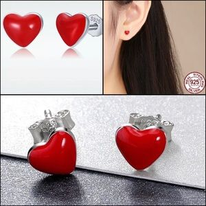 .925S Sterling Silver Red Enamel Heart Earrings